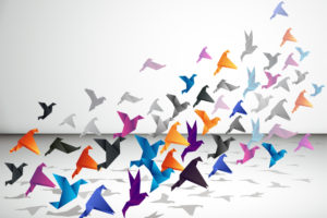 Origami birds in formation